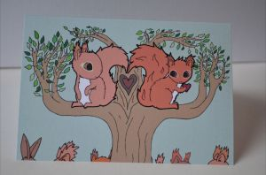 Squirrels Find Love Greeting Card